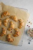 Muesli quark croissants on baking paper