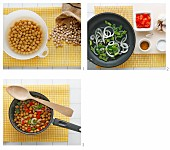 Chickpeas with peppers and curry powder being made