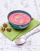 Cream of beetroot soup with cannellini beans and apple