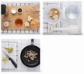 Spanische Knoblauchsuppe mit Pinienkernen zubereiten