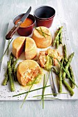 Cod Flans with cayenne pepper and green asparagus puree