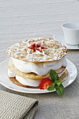 Mille feuilles with vanilla cream and almonds