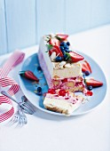 Ice cream terrine with summer fruits