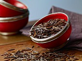 Wild rice in a red bowl