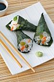 Vegetarian sushi cones