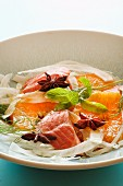 Fennel salad with salmon, orange and star anise