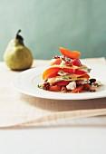 Birnen und Aprikosen mit Roquefort und Walnüssen