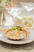 A gratinated scallop with shrimps for Christmas