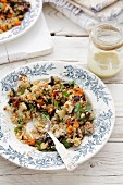 Couscous salad with grilled vegetables and coriander
