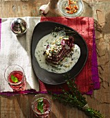 Gratinated radicchio with herb feta cheese