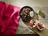 Lentil and pomegranate salad with a yoghurt dressing