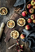 Apple tartlets decorated with hearts