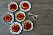 Six servings of creme caramel