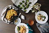 Macaroni and cheese with pumpkin and broccoli