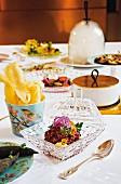 Tisch mit 'Surprise-Gang' im Restaurant 'Igniv' in Bad Ragaz, Schweiz
