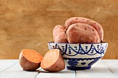 Sweet potatoes, whole and halved