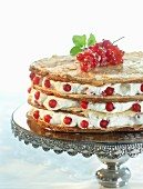 A redcurrant layer cake with almonds