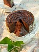 A chocolate pinwheel cake, sliced