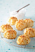 Coconut macaroons on a wire rack