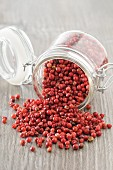 Pink peppercorns falling from an overturned jar
