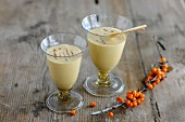 Two glasses of sea buckthorn lassi