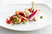 Monkfish with raw ham and vegetables