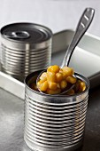 Tinned sweetcorn on a spoon