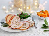 Turkey roulade, sliced, for Christmas