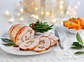 Turkey roulade, sliced, for Christmas