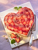 A heart-shaped strawberry quark cake