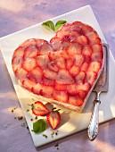 A heart-shaped strawberry quark cake