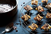 Florentines drizzled with dark chocolate