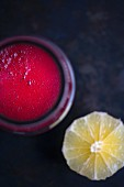 Beetroot juice with lemon (seen from above)