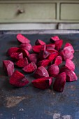 Beetroot, sliced, on a baking tray