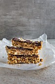 Amaranth bars with chocolate and cashew nuts, sliced