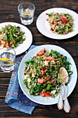 Spinach and quinoa salad with strawberries and pomegranate seeds