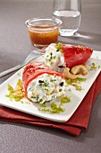 Red peppers filled with goat's cream cheese