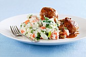 Meatballs with mashed chicory