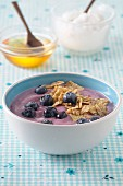 A bowl of blueberry quark