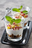 Quick mango and pomegranate trifles