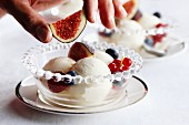 Mascarpone ice cream with berries and figs