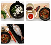 Sea bream with onions and peppers being made