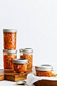 Tomato salsa in screw-top jars