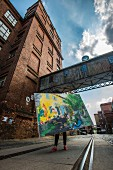 A painting outside the Ziegelhalle of the old cotton mill, Leipzig