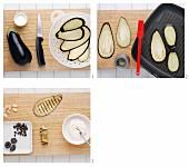 Auberginenröllchen mit Mandel-Frischkäsefüllung zubereiten