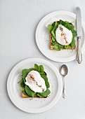 Poached eggs and spinach on toast