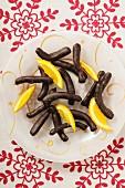 Orange sticks with dark chocolate