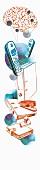Ilustration: Vernetzung des menschlichen Gehirns mit Telefon und Arbeitsmaterialien
