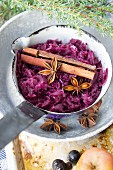 Red cabbage with cinnamon sticks and star anise