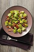 Romanesco broccoli with bacon, pine nuts and coriander vinaigrette
